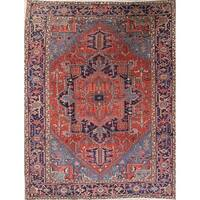 """Antique Heriz Geometric Hand Knotted Wool Persian Area Rug - 10'5"""" x 7'2"""""""