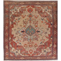 """Antique Heriz Geometric Hand Knotted Wool Persian Area Rug - 11'6"""" x 9'5"""""""