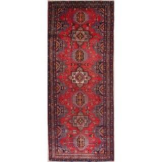 "Vintage Heriz Geometric Hand Knotted Wool Persian Rug - 13'2"" x 4'9"" Runner"