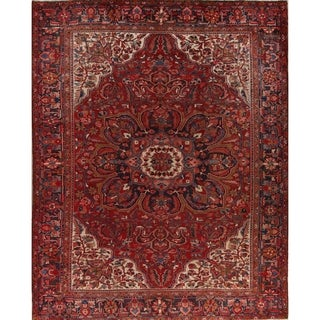"Vintage Heriz Medallion Hand Knotted Wool Persian Area Rug - 12'9"" x 9'11"""