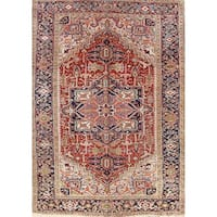 """Antique Heriz Geometric Hand Knotted Wool Persian Area Rug - 9'10"""" x 7'2"""""""
