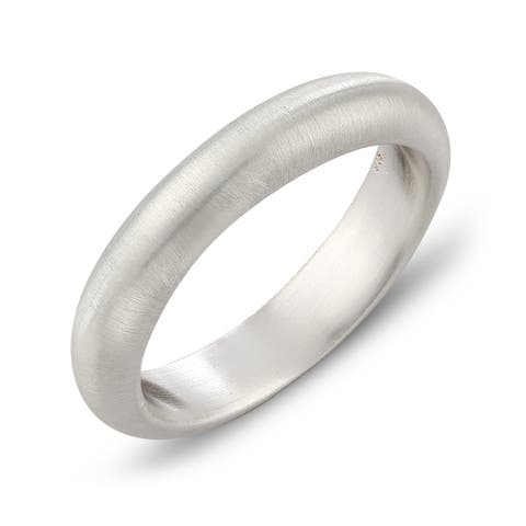 4MM Band Width .925 Sterling Silver Comfort Fit Wedding Band Ring