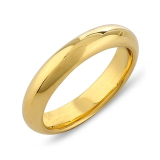 4MM Band Width Yellow Gold Overlay 925 Sterling Silver Comfort Fit Wedding Band Ring
