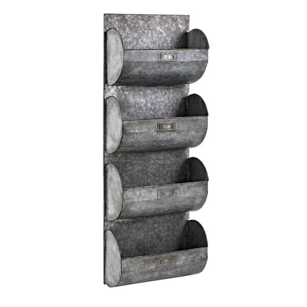 Galvanized Iron Wall Organizer with Four Shelves, Gray