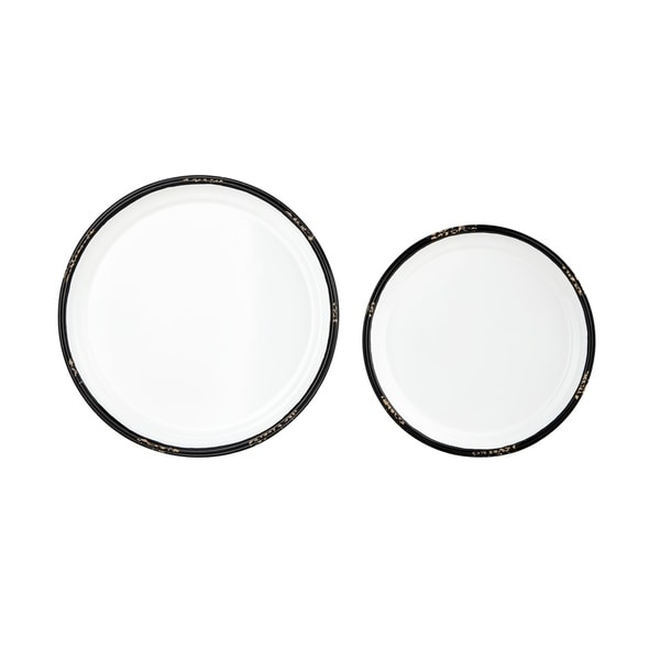 Wooden Circular Tray Like Wall Decor with Hooks, Set of Two, White and Black