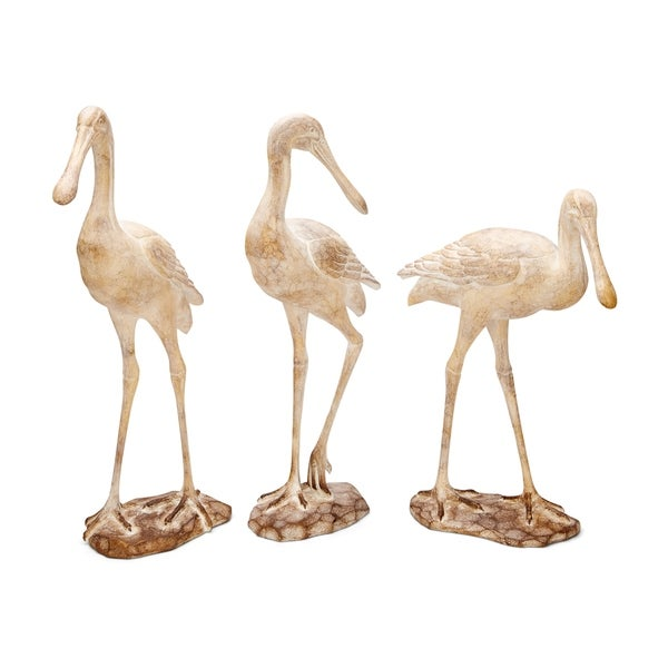 Polyresin Statuaries with Seagull Structure, Set of Three, Brown and White