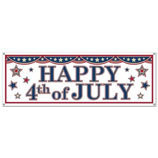 """Beistle 5' x 21"""" All Weather Patriotic Theme 4th of July Sign Banner - 12 Pack (1/Pkg). Opens flyout."""