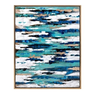 Abstract Canvas Oil Painting in Pinewood Frame, Multicolor