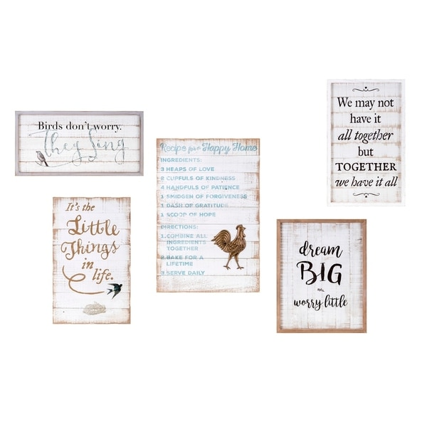 Wooden Rectangular Wall Decor with Inspirational Quotes, Set of Five, Multicolor