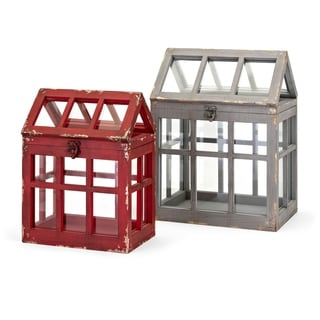 House Shape Glass Terrarium with MDF Wood Frame, Red and Gray, Set of Two