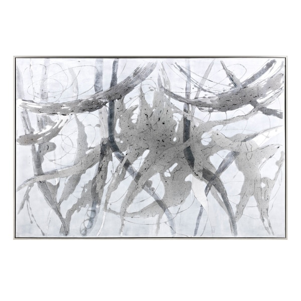 Abstract Designed Canvas Oil Painting in Pinewood Frame, Gray and White