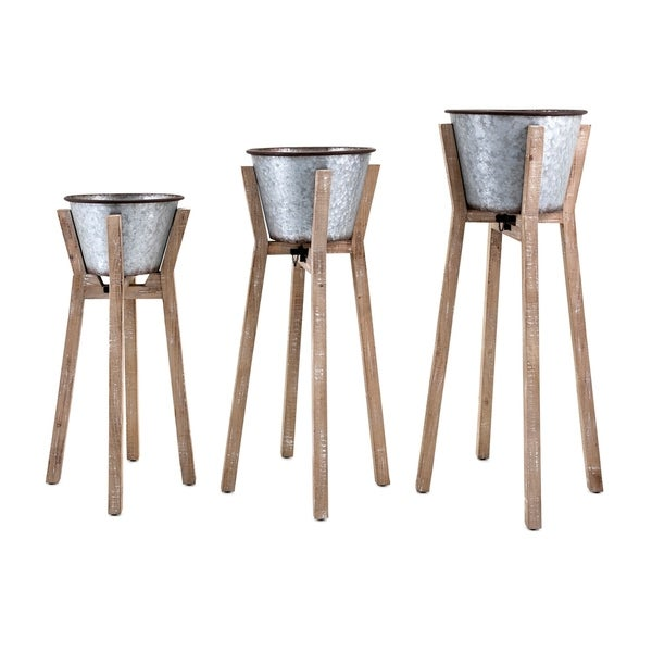 Galvanized Iron Planters with Fir Wood Stands, Gray and Brown, Set of 3