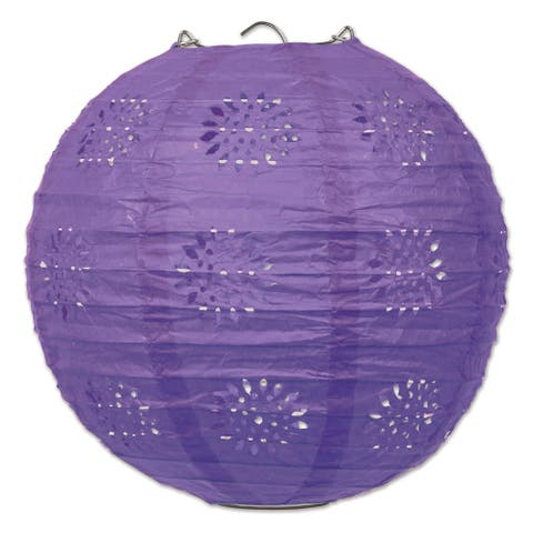 """Beistle 8"""" General Occasion Hanging Lace Paper Lanterns, Purple - 6 Pack (3/Pkg)"""