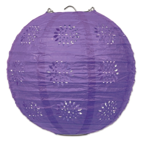 "Beistle 8"" General Occasion Hanging Lace Paper Lanterns, Purple - 6 Pack (3/Pkg). Opens flyout."