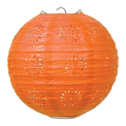 "Beistle 8"" General Occasion Hanging Lace Paper Lanterns, Orange - 6 Pack (3/Pkg)"