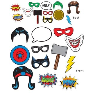 """Beistle 6.75""""-10"""" Hero Party Decorative Photo Fun Signs - 12 Pack (12/Pkg)"""