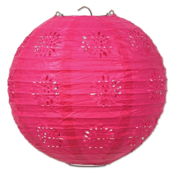 """Beistle 8"""" General Occasion Hanging Lace Paper Lanterns, Cerise - 6 Pack (3/Pkg). Opens flyout."""