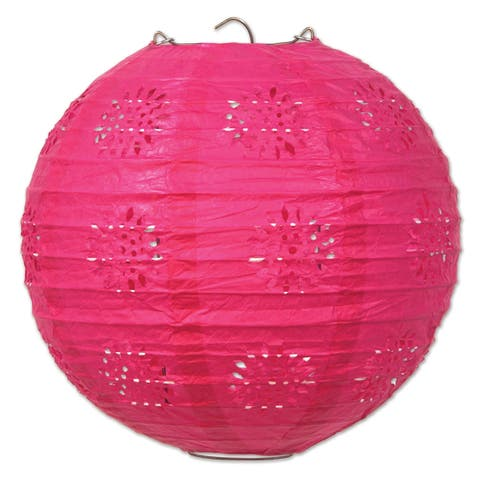 "Beistle 8"" General Occasion Hanging Lace Paper Lanterns, Cerise - 6 Pack (3/Pkg)"