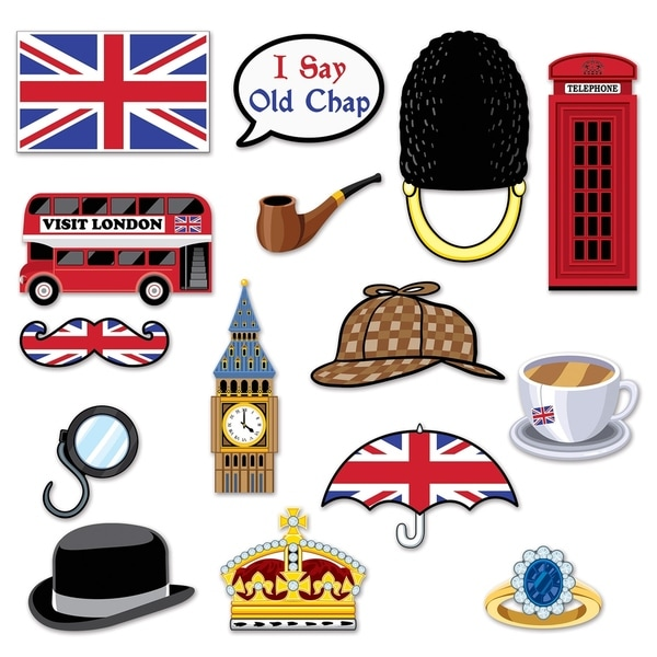 "Beistle 5""-11.5"" British Party Decorative Photo Fun Signs - 12 Pack (15/Pkg)"