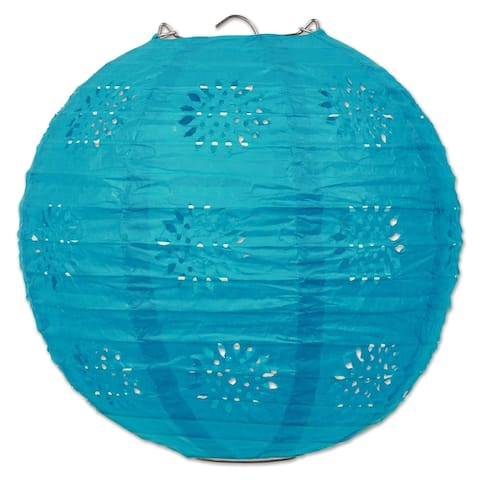 """Beistle 8"""" General Occasion Hanging Lace Paper Lanterns, Turquoise - 6 Pack (3/Pkg)"""