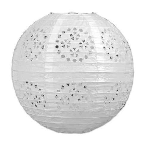 """Beistle 8"""" General Occasion Hanging Lace Paper Lanterns, White - 6 Pack (3/Pkg)"""