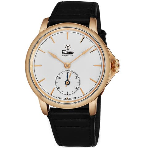 Tutima Men's 6601-02 'Patria' Silver Dial Brown Leather Strap 18K Rose Gold Dual Time Automatic Watch