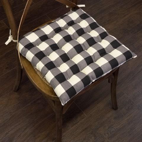 "Buffalo Check Tufted Chair Pads (16""x16"") Black - 16""x16"""