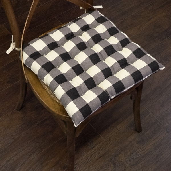 Shop Buffalo Check Tufted Chair Pads 16 Quot X16 Quot Black 16 Quot X16 Quot On Sale Free Shipping On