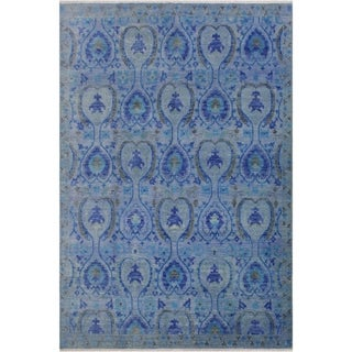 Fine Oushak Modern Jeffere Blue/Gray Wool Rug - 7'10 x 10'0 - 7 ft. 10 in. X 10 ft. 0 in.