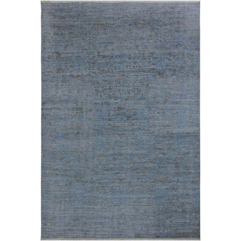 Fine Abstract Oushak Ciara Blue/Gray Wool Rug - 8'10 x 12'2 - 8 ft. 10 in. X 12 ft. 2 in.