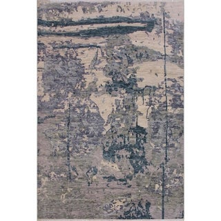 Fine Abstract Oushak Evelia Gray/Blue Wool Rug - 8'8 x 11'8 - 8 ft. 8 in. X 11 ft. 8 in.
