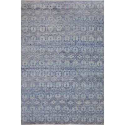 Fine Oushak Modern Mathew Blue/Gray Wool Rug - 10'0 x 14'3 - 10 ft. 0 in. X 14 ft. 3 in. - 10 ft. 0 in. X 14 ft. 3 in.