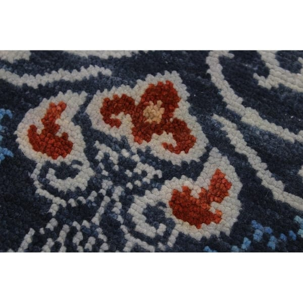 Fine Oushak Modern Colette Blue Gray Wool Rug 9 1 X 12 0 9 Ft 1 In X 12 Ft 0 In Overstock 27031541