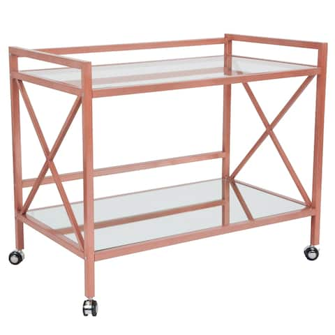 Rose Gold Metal Kitchen Bar Cart with Glass Shelves and X-Frame