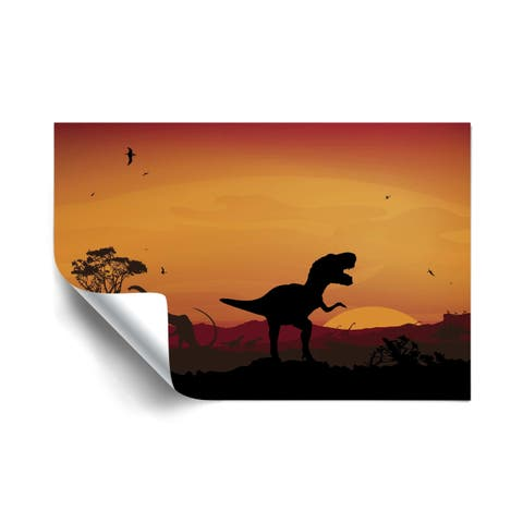 Age Of Dinosaurs Orange Removable Wall Art Mural