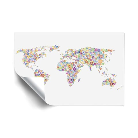 Peace & Love World Map Removable Wall Art Mural