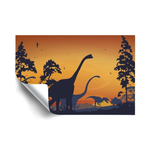 Dinosaur Landscape Blue Removable Wall Art Mural