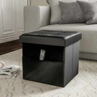 Foldable Storage Cube Ottoman with Pocket- Tufted Faux Leather Footrest Organizer by Lavish Home