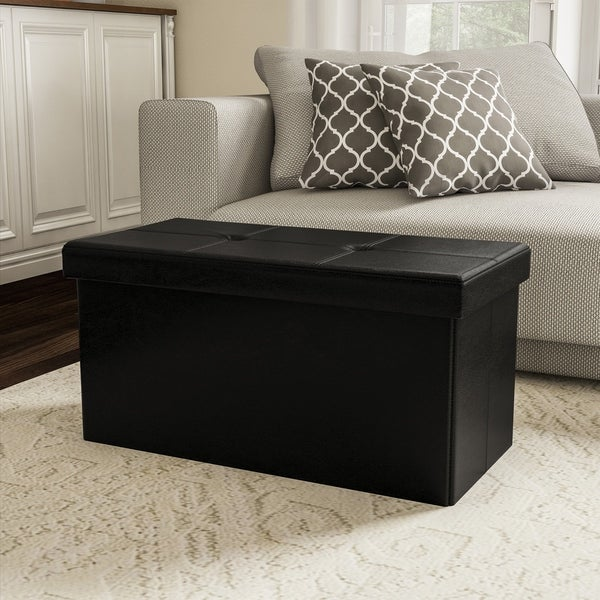 Large Foldable Storage Bench Ottoman- Tufted Faux Leather Cube Organizer Furniture by Lavish Home - 30 x 15 x 15