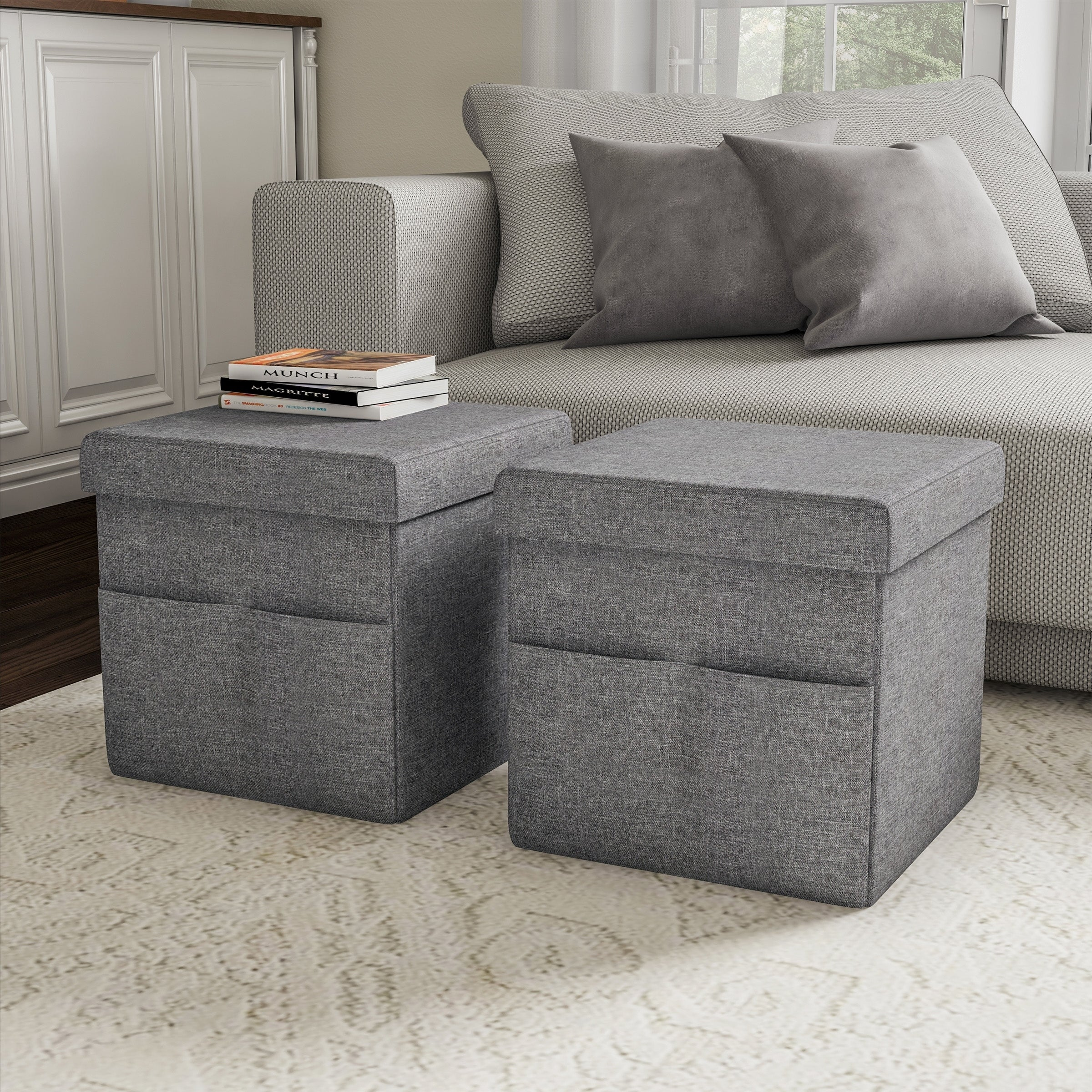 Foldable Storage Cube Ottoman With Pockets Multipurpose Footrest Organizer By Lavish Home