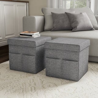 Foldable Storage Cube Ottoman with Pockets- Multipurpose Footrest Organizer by Lavish Home