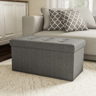 Large Folding Storage Bench Ottoman- Tufted Cube Organizer Furniture with Removeable Bin by Lavish Home - 30 x 15 x 15