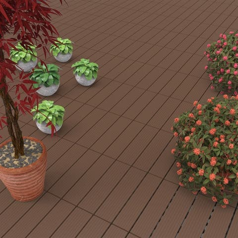 Patio and Deck Tiles- 6 Pcs, Interlocking Slat Pattern Weather Resistant and Anti-Slip by Pure Garden