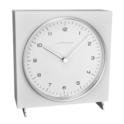 Junghans Men's 363/2210.00 'MaxBill Table Clock' White Dial Quartz Clock