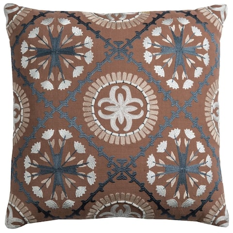 "Rizzy Home Cover Brown Pillow - 18"" x 18"" - Black"