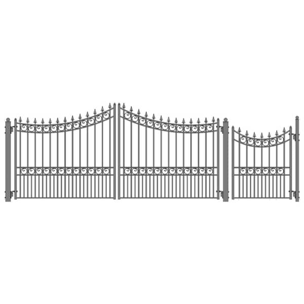 ALEKO Steel Swing Dual Driveway Gate Moscow Style 18 ft with Pedestrian Gate