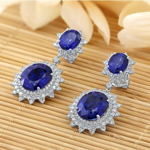 Auriya Vintage 28 1/2ct Royal Blue Sapphire and 3 9/10ctw Halo Diamond Dangle Earrings 18K Gold