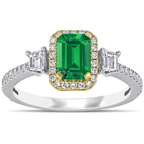 Miadora 2-Tone 14k White and Yellow Gold Emerald and 1/2ct TDW Diamond 3-Stone Halo Engagement Ring