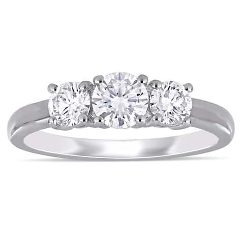 Eternally Yours 1ct TW Lab Grown Diamond 3-Stone Engagement Ring in 14k White Gold