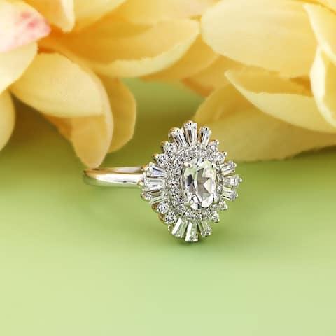 Auriya 14k Gold 1ctw Ballerina Halo Oval Diamond Engagement Ring Certified